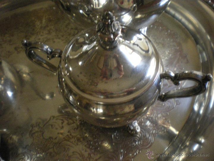 Antigüedades: JUEGO DE SERVICIO DE CAFE-TÉ CON BANDEJA -ALPACA PLATEADA - Foto 4 - 48689665