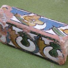 Antigüedades: ALIZAR ANTIGUO DE TOLEDO - A LA CUERDA SECA - RENACIMIENTO -SIGLO XVI - AZULEJO.. Lote 48690879