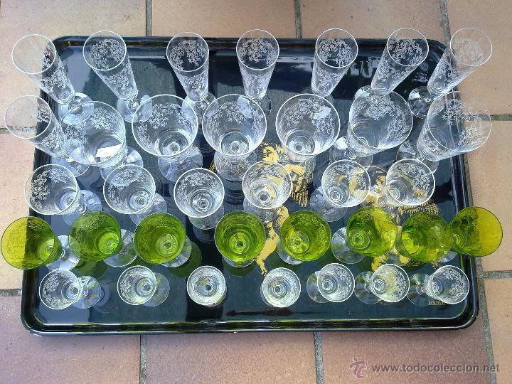 Antigüedades: Cristalería copas cristal soplado grabado S XIX - Foto 2 - 48691794