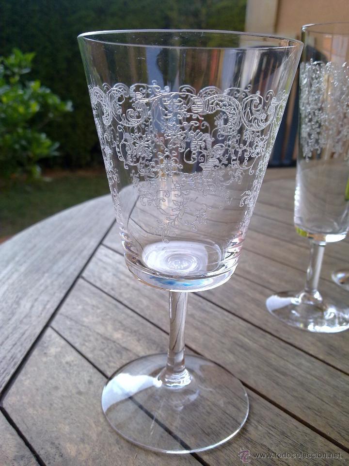 Antigüedades: Cristalería copas cristal soplado grabado S XIX - Foto 3 - 48691794