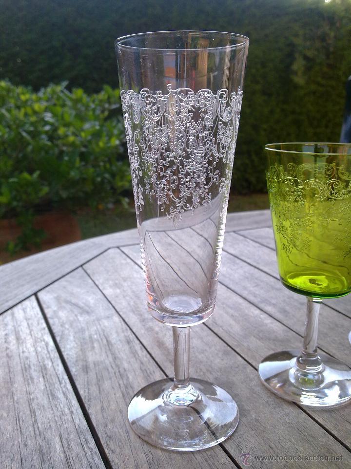 Antigüedades: Cristalería copas cristal soplado grabado S XIX - Foto 4 - 48691794