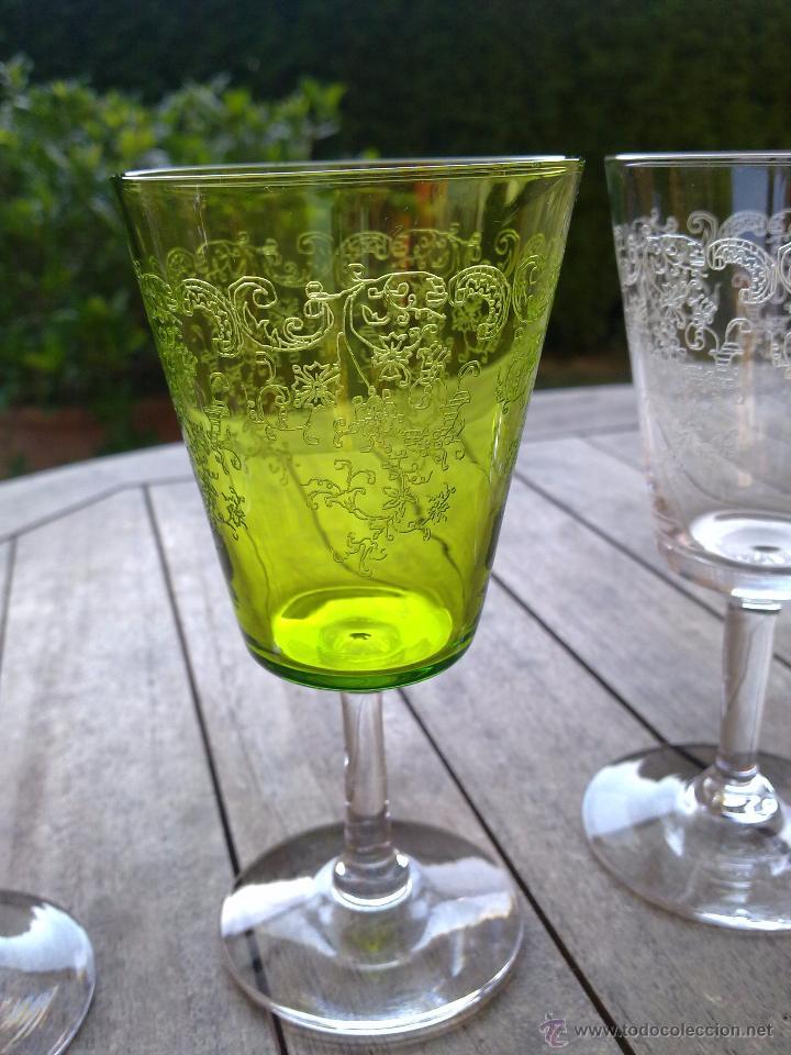 Antigüedades: Cristalería copas cristal soplado grabado S XIX - Foto 5 - 48691794