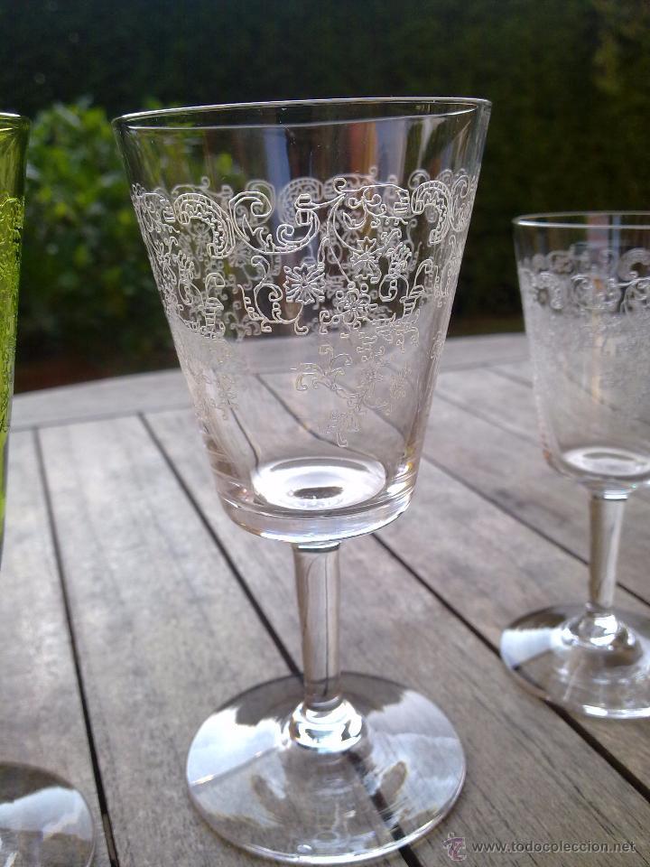 Antigüedades: Cristalería copas cristal soplado grabado S XIX - Foto 6 - 48691794