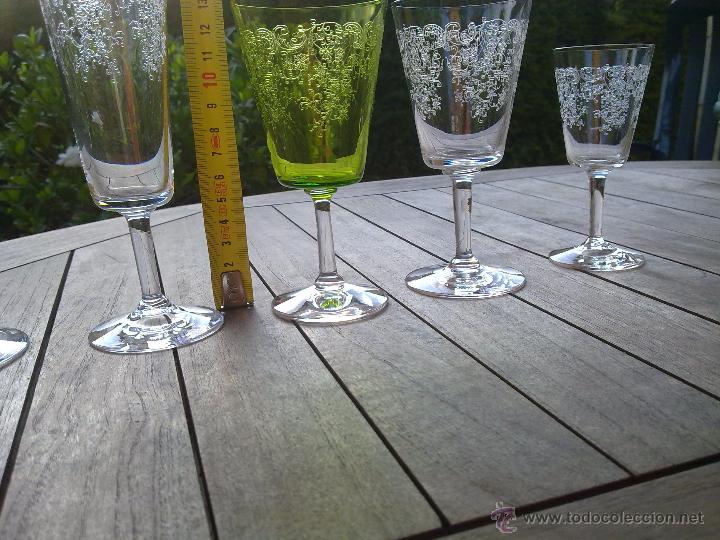Antigüedades: Cristalería copas cristal soplado grabado S XIX - Foto 8 - 48691794