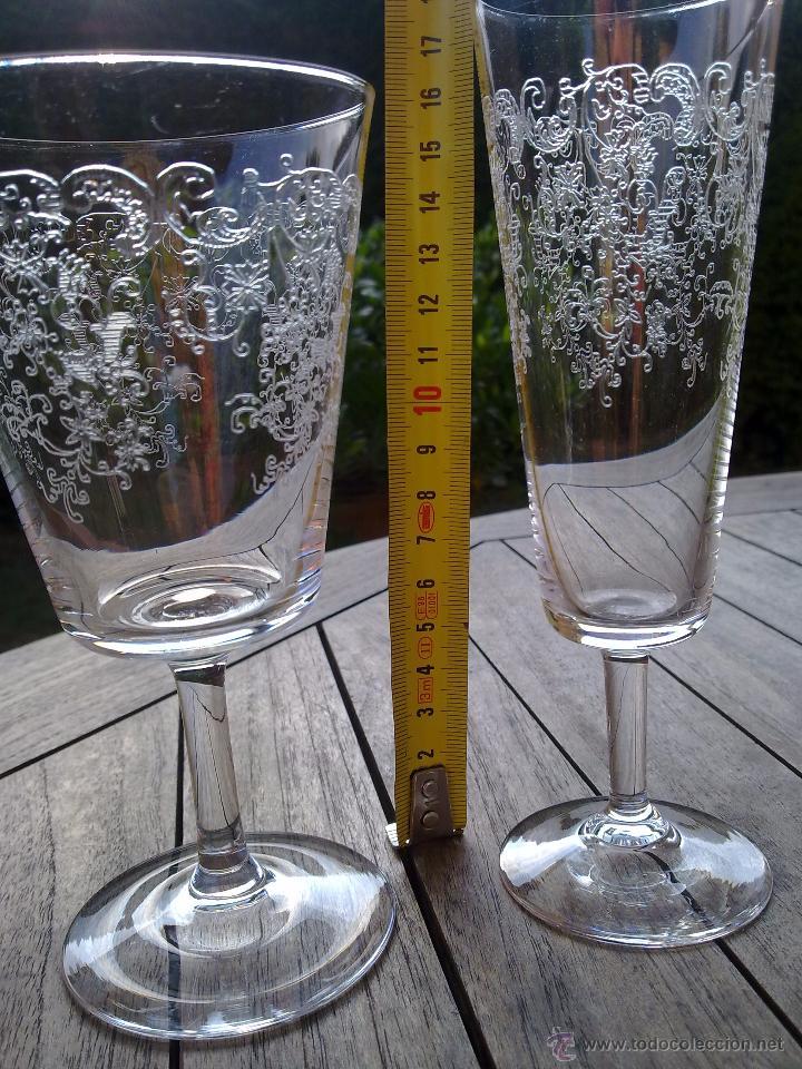 Antigüedades: Cristalería copas cristal soplado grabado S XIX - Foto 9 - 48691794