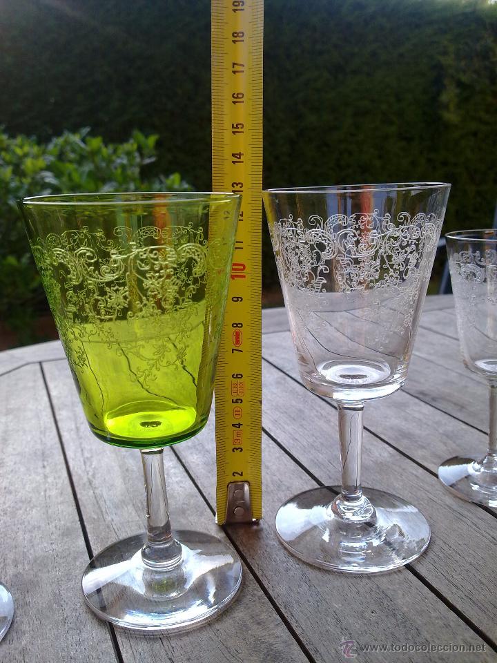 Antigüedades: Cristalería copas cristal soplado grabado S XIX - Foto 10 - 48691794