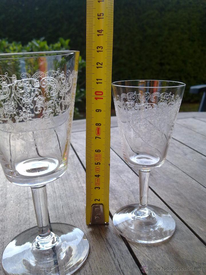 Antigüedades: Cristalería copas cristal soplado grabado S XIX - Foto 11 - 48691794