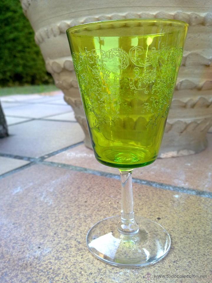 Antigüedades: Cristalería copas cristal soplado grabado S XIX - Foto 13 - 48691794