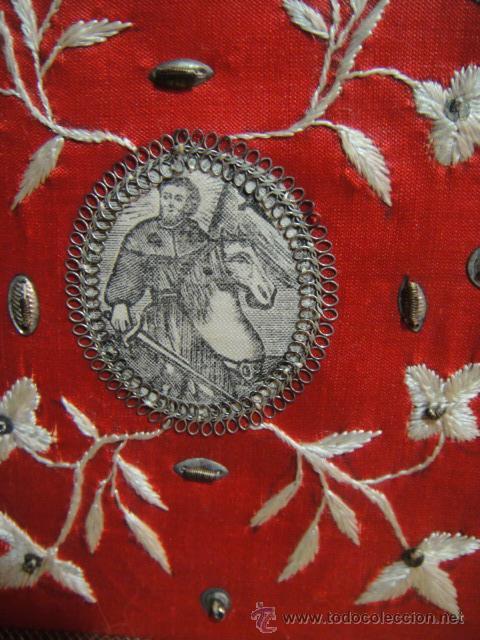 Antigüedades: escapulario apostol santiago grabado en tela y bordado en seda - Foto 2 - 48700043