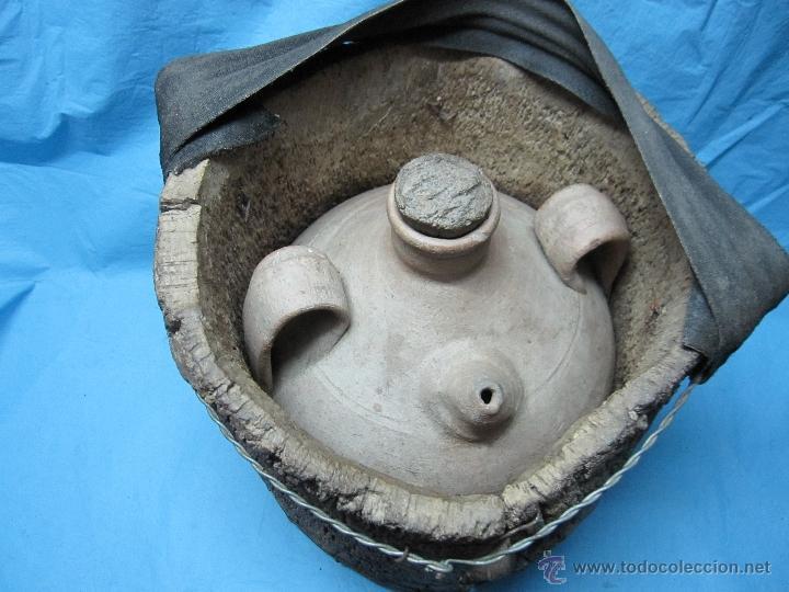 Antigüedades: ANTIGUO BUCARO BOTIJO PORRON PIEZA DE MUSEO ETNOGRAFICA CON AISLANTE CORCHO - Foto 2 - 48702967