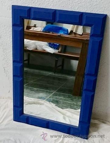 antiguo espejo de roble pintado con azul napolen de annie sloan antigedades muebles