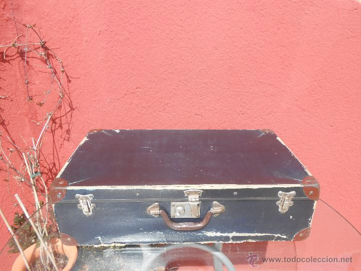 Antigüedades: ANTIGUA MALETA GRANDE DE CARTÓN - Foto 5 - 48709089