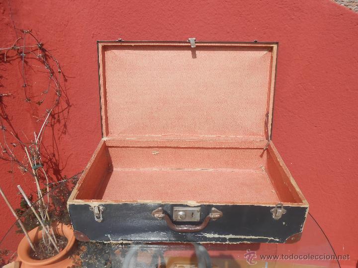 Antigüedades: ANTIGUA MALETA GRANDE DE CARTÓN - Foto 11 - 48709089