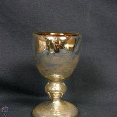 Antigüedades: HUEVERA COQUETIER VIDRIO SOPLADO AZOGADO INTERIOR DORADO POSIBLE LA GRANJA FFS S XIX 8,5X5CMS. Lote 48710821