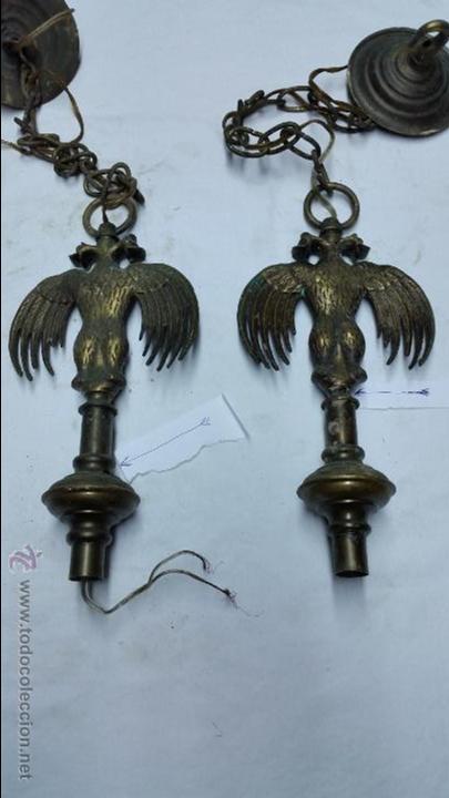 Antigüedades: 2 remates de lampara aguila bicefala de bronce o laton antiguo,años 40 aprox - Foto 2 - 48719243