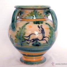 Antigüedades: JARRÓN DE 4 ASAS CERÁMICA DEL PUENTE DEL ARZOBISPO. TOLEDO. Lote 48728471