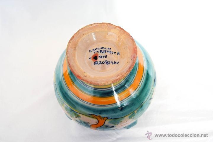 Antigüedades: Jarrón de 4 asas cerámica del Puente del Arzobispo. Toledo - Foto 4 - 48728471