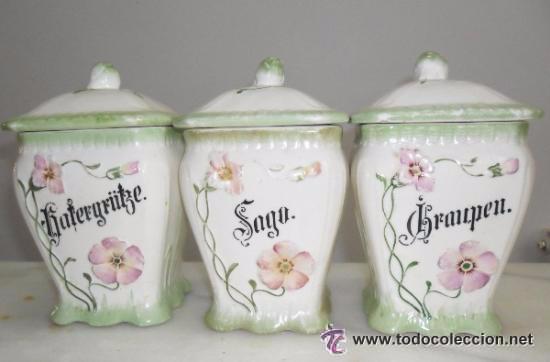 Antigüedades: Porcelana alemana - tarros de cocina, estilo modernista - Foto 2 - 48734952
