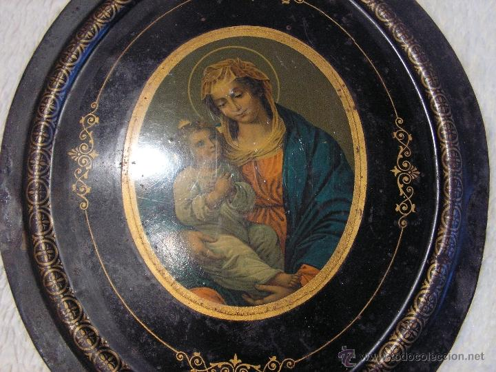 Antigüedades: placa para puerta de 30cmx22,5cm.pintada a mano. - Foto 3 - 48741435
