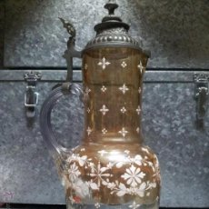 Antigüedades: TANKARD GRAN JARRA DE CERVEZA DE CRISTAL ESMALTADO DE BOHEMIA CON TAPADERA PELTRE..SIGLO XIX. Lote 48745170