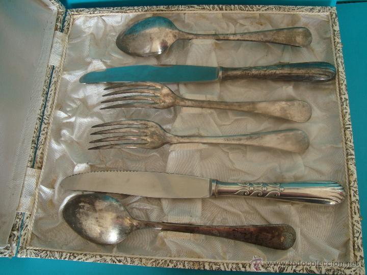 Antigüedades: JUEGO DE CUBIERTOS METAL PLATEADO PARA DOS PERSONAS - Foto 2 - 48746375