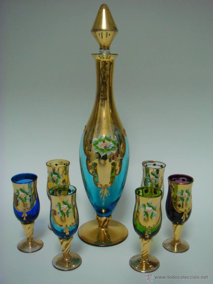 JUEGO DE LICOR DE CRISTAL DE MURANO. VENECIA (Antigüedades - Cristal y Vidrio - Murano)