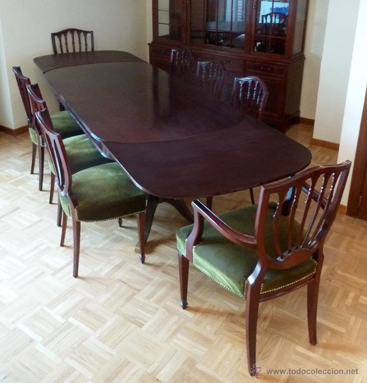 Importante conjunto de mesa de comedor extensib comprar for Comedor en ingles