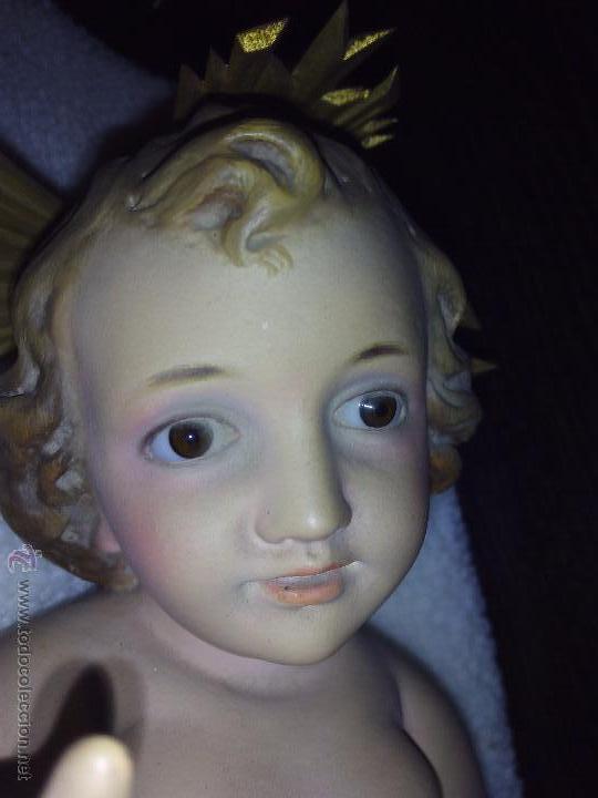 Antigüedades: Niño Jesús de Olot, ojos de cristal. Buen estado. - Foto 2 - 48753708