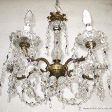 Antigüedades: GRAN LAMPARA ANTIGUA BRONCE Y CRISTAL ARAÑA ORIGINAL CRISTAL ROCA AÑOS 30 IDEAL VINTAGE. Lote 48756540
