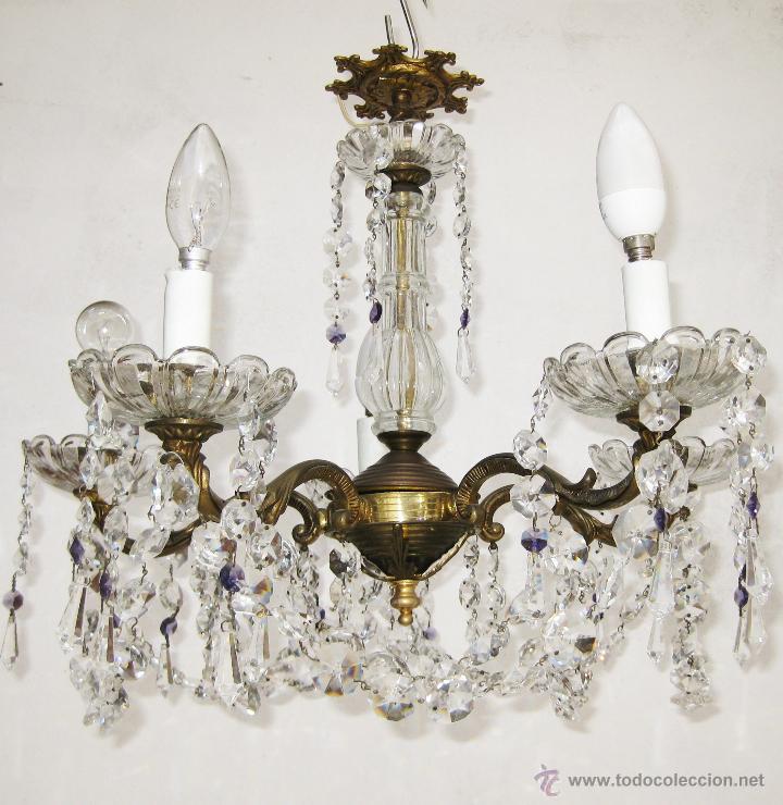 Gran lampara antigua bronce y cristal ara a ori comprar - Lamparas cristal antiguas ...