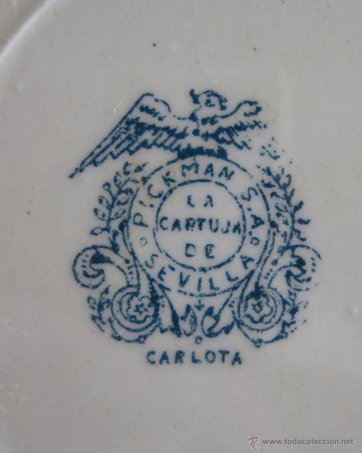 Antigüedades: IMPOSIBLE VAJILLA ANTIGUA PICKMAN SERIE CARLOTA AZUL - Foto 3 - 48757139