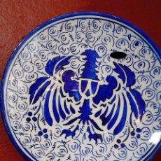 Antigüedades: PLATO MANISES AZUL – ESCUDO DE AGUILA. Lote 48779287