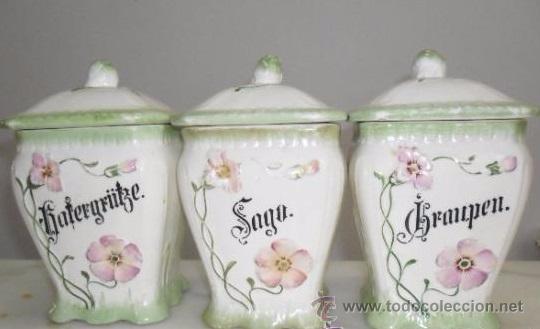 Antigüedades: Porcelana alemana - tarros de cocina, estilo modernista - Foto 14 - 48734952