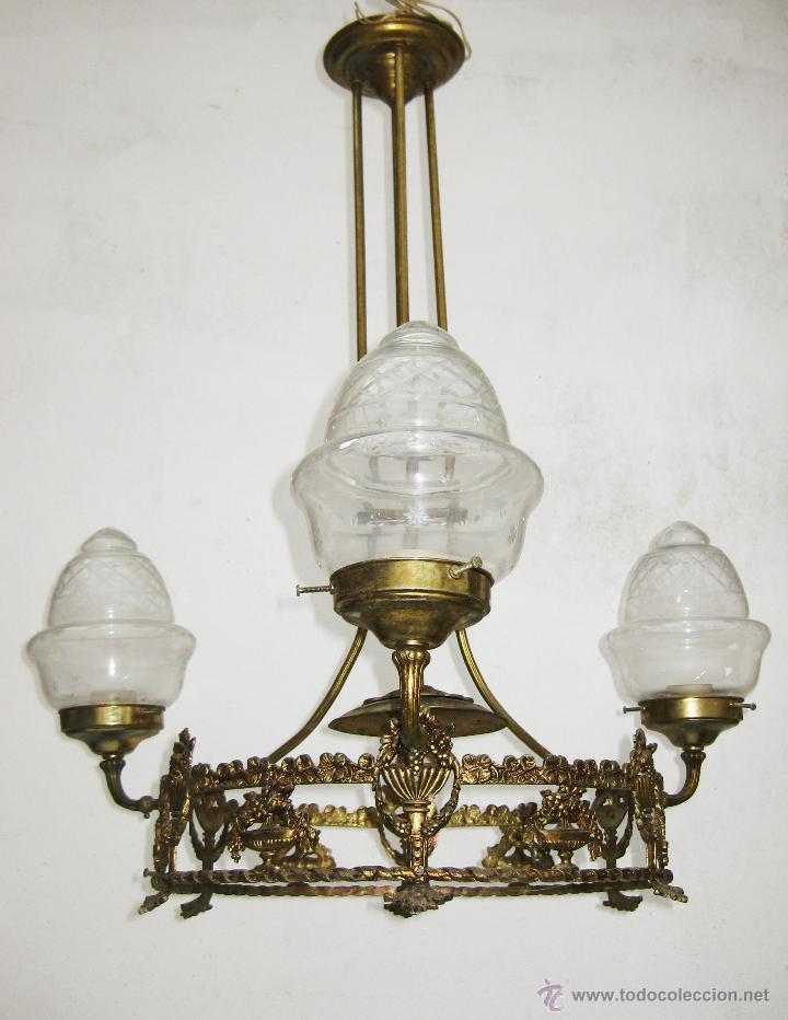 ELEGANTE LAMPARA ESTILO ISABELINA EN METAL DORADO IDEAL SALON DECORACION CLASICA O VINTAGE (Antigüedades - Iluminación - Lámparas Antiguas)