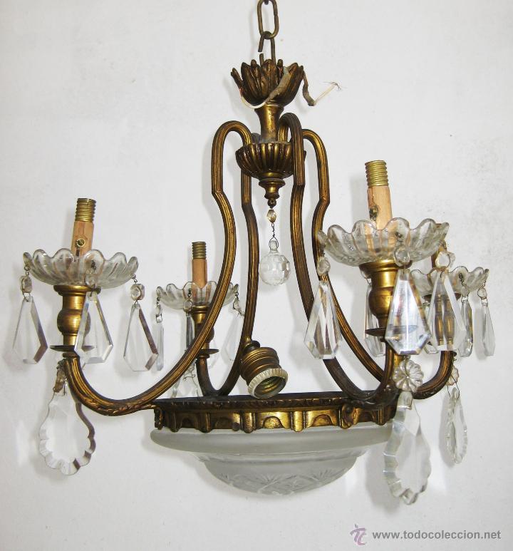 LAMPARA ANTIGUA CLASICA SALON O HABITACION ORIGINAL ISABELINA EN BRONCE DORADO Y CRISTAL (Antigüedades - Iluminación - Lámparas Antiguas)