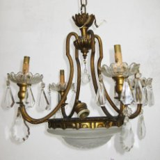 Antigüedades: LAMPARA ANTIGUA CLASICA SALON O HABITACION ORIGINAL ISABELINA EN BRONCE DORADO Y CRISTAL. Lote 48817580