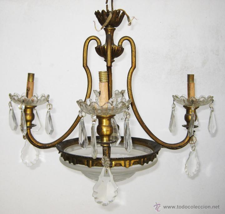Antigüedades: LAMPARA ANTIGUA CLASICA SALON O HABITACION ORIGINAL ISABELINA EN BRONCE DORADO Y CRISTAL - Foto 2 - 48817580
