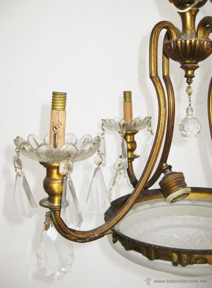 Antigüedades: LAMPARA ANTIGUA CLASICA SALON O HABITACION ORIGINAL ISABELINA EN BRONCE DORADO Y CRISTAL - Foto 5 - 48817580