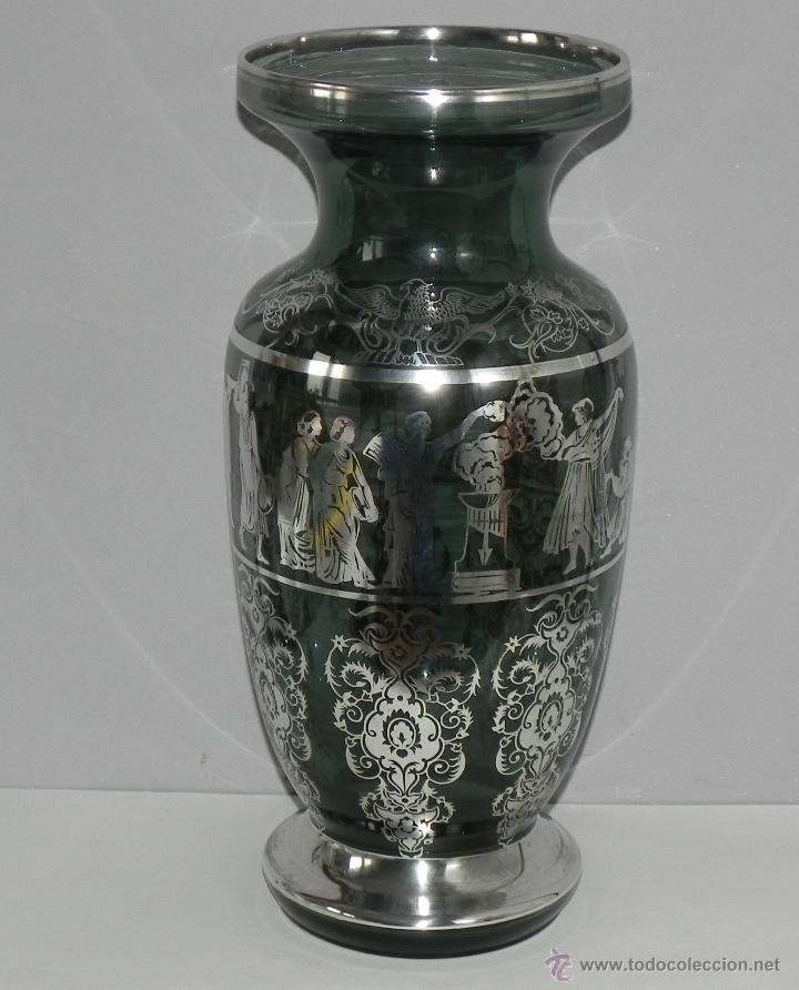 Precioso jarron de cristal decorado en plata comprar for Jarron cristal