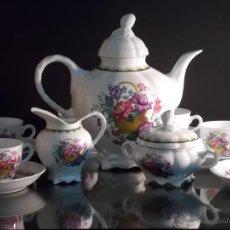 Antigüedades - Juego de cafe porcelana Bidasoa Carlos IV de los Años 80 // 12 tazas 1 azc. 1 caf. 1 lech. - 108827083