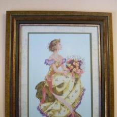 Antigüedades: DAMA CON RAMO DE FLORES. PUNTO DE CRUZ.. Lote 48835191