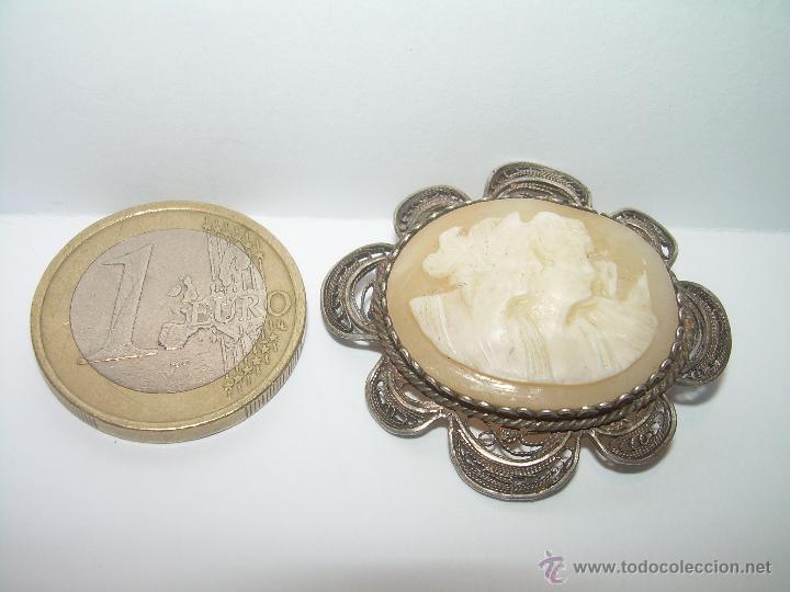 Antigüedades: ANTIGUO Y PRECIOSO BROCHE CAMAFEO TALLADO EN CONCHA O MADREPERLA DE FILIGRANA DE PLATA....SIGLO XIX. - Foto 5 - 48835237