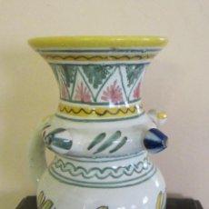 Antigüedades: JARRA CON 3 PITONES / PITORROS POSTIZOS Y AGUJERO DISIMULADO EN EL ASA.MARCA EN BASE. ALTURA 20,5 CM. Lote 48849367