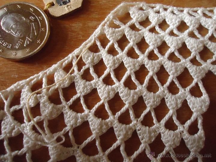 Antigüedades: 12x7 antigua aplicacion realizada a mano, pequeña cortinilla puntilla encaje,,,, original epoca - Foto 2 - 48854682