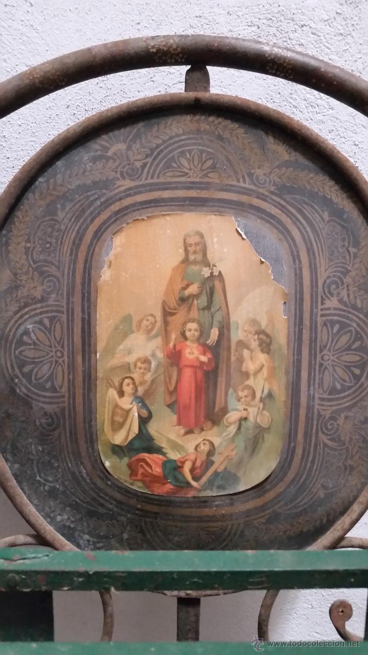 Antigüedades: Antigua cama isabelina de forja artesanal sin soldaduras, todo echo a mano con remaches preciosa - Foto 2 - 48854725