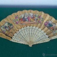 Antigüedades: ABANICO HUESO. Lote 48855115