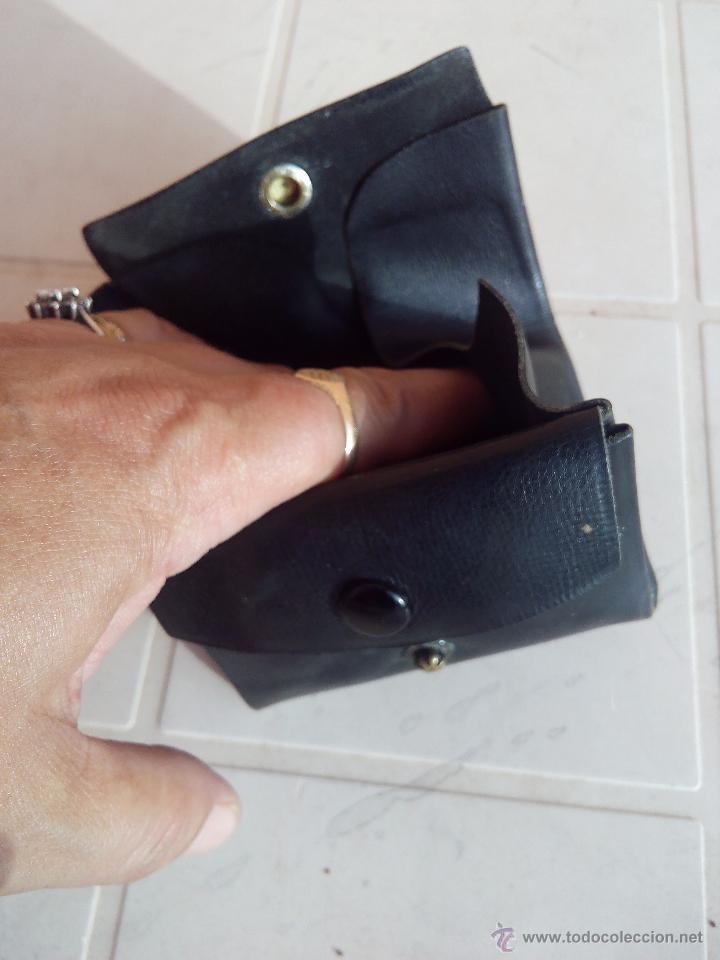 Antigüedades: Antigua cartera monedero de caballero de cuero negro. - Foto 4 - 48855628