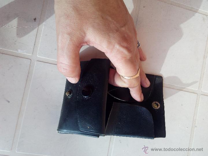 Antigüedades: Antigua cartera monedero de caballero de cuero negro. - Foto 5 - 48855628