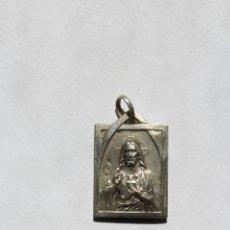 Antigüedades: M- 233. MEDALLA BIFAZ DE PLATA EN RELIEVE DEL SAGRADO CORAZON Y VIRGEN DEL PILAR.. Lote 48865858