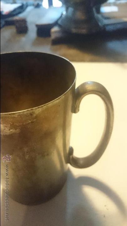 Antigüedades: ANTIGUA JARRA METALICA CON INSCRIPCION 1928 - Foto 4 - 48867490